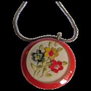 Art Deco Carved Red Bakelite Prystal Round Pendant with flower inside on Snake Chain