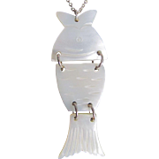 Vintage MOP Articulated & Carved Fish Pendant on silver chain