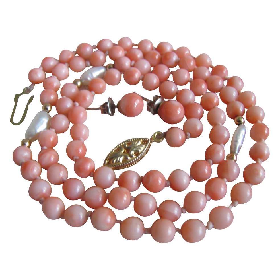 """Vintage Angelskin Coral & Rice Pearl 22"""" Necklace with 6mm Earrings"""