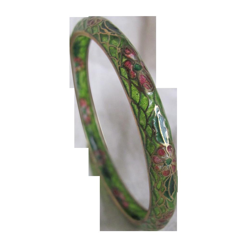 Vintage Plique A Jour Stained Glass Narrow Bangle Bracelet