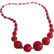 Victorian Red Coral Glass Graduated with Crystal spacers Necklace