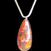 Vintage Baltic Amber Pendant on Goldtone Chain