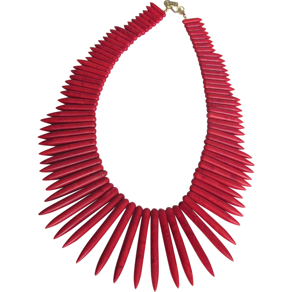 Vintage Signed Kenneth Lane Red Carved Spiked Coral Graduated Necklace