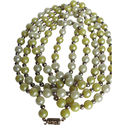 Art Deco Flapper Celluloid Pearlized Yellow Bead Necklace