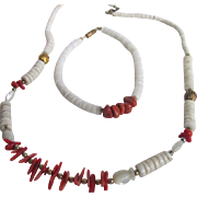 Vintage Red Branch Coral & White Coral Heishi Bead Set of Necklace & Bracelet