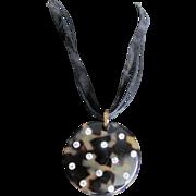 Vintage Bakelite Tortoiseshell with Rhinestones Pendant on Black Ribbon Necklace