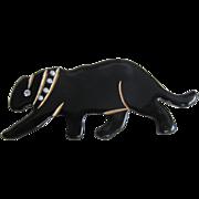 ART DECO Black Bakelite Panther Pin  studded collar Pin Brooch