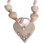 Vintage 40's Sweetheart MOP with Rhinestone Necklace
