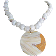 Vintage Boho Chic Carved Banded Agate Pendant  and Travertine Bead Necklace