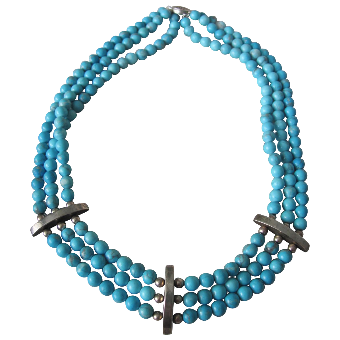 Vintage Appraised $1265 Sterling Silver Triple Strand Enhanced Turquoise Necklace