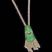 Art Deco Bakelite Green & Cream Swirl Double Pendant with Brass Chain Necklace