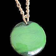 Art Deco Bakelite Prystal Green & Black Swirl Round Pendant with Brass Chain Necklace
