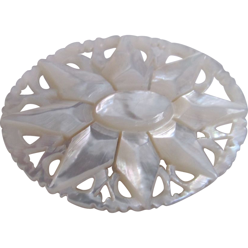 Victorian MOP Carved Flower Pin/Brooch
