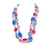Mid Century Signed Japan Moonglow Slice in Rainbow Colors 2 Strand Necklace