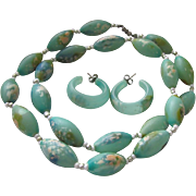 Mid Century  Abstract Translucent Turquoise Lucite Necklace & Pierced Earrings