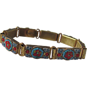 """Victorian Pinchbeck Italian Mosaic Link Bracelet stamped """"Made in Italy"""""""