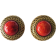 Vintage Signed Napier Faux Coral Cabochon Pierced Earrings