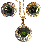 Vintage Peridot Glass Faceted & CZ Demi Parure & GF Chain & Pendant & Earrings  Set