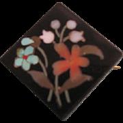 Victorian Miniature Jet Pietra Dura Square Floral Design Brooch