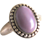 Vintage Chinese Lavender Jade Cabochon Sterling Silver Ring