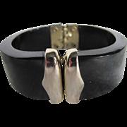 40's Rare Celluloid Black Cuff Tapered Bracelet