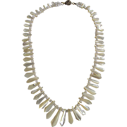 "Antique Victorian Mother Of Pearl Graduated 16"" Necklace"