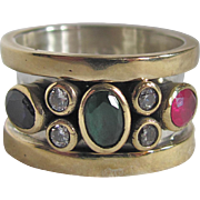 Mid Century Gold Plated Sterling Silver Synthetic Ruby, Emerald, Sapphire & CZ Ring Certified Appraisal $1095
