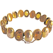 Georgian GP Precious Citrine Gems Romanesque Style Bracelet with Certified Appraisal $1190