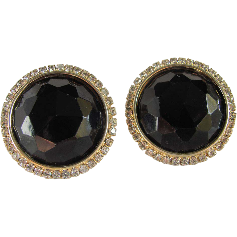 Vintage Large HOBE Facetted Black Earrings with rhinestones 2 for 1 Offer