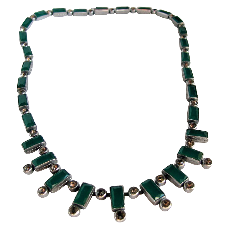 ART Deco Unsigned Jakob Bengel Bib Necklace with Facetted Faux Emerald Green Stones