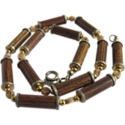 MID CENTURY Trifari Bakelite Immersed Wood Rod Beads Necklace 2 FOR 1 OFFER