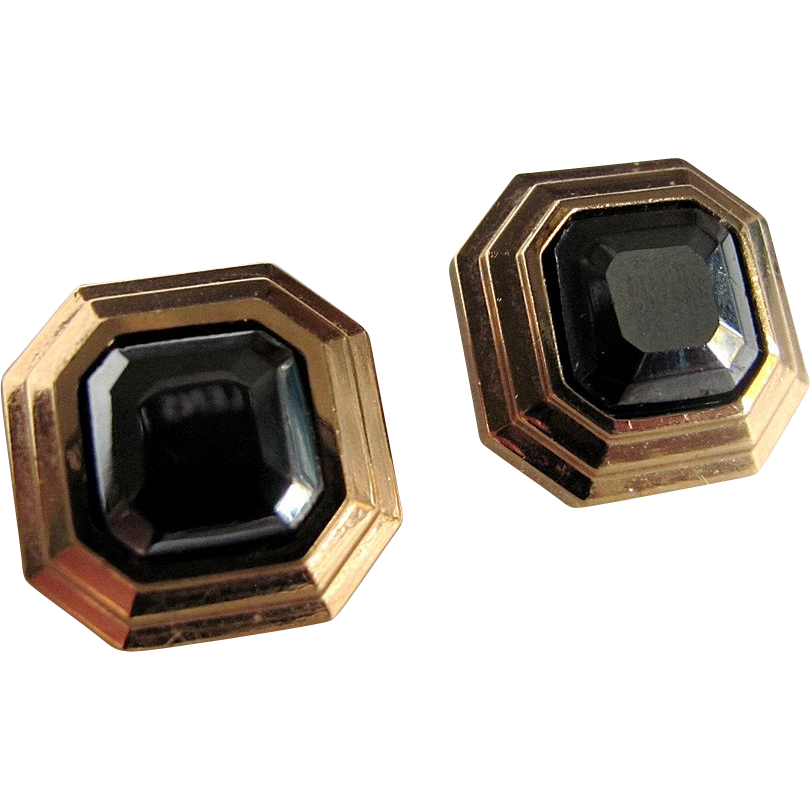 1970's Lanvin Square Pierced Semi Precious Hematite Gold Plated Earrings