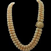 Angel Skin Coral Necklace Huge 14K Clasp
