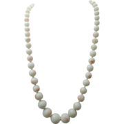 Japan glass angel-skin coral bead necklace 1940's