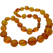 Genuine Natural Baltic Amber Vintage Beaded Necklace