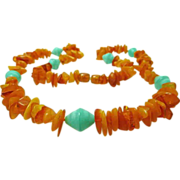Natural Baltic Amber and Vintage Czech Bead Necklace Genuine