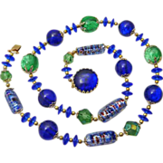 Vintage Blue & Green Foil & Art Glass Necklace
