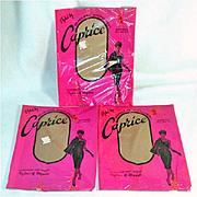 3 Pair 1960s Caprice Nylon Stockings Size 11