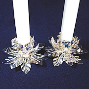 Pair 1960s Silverplate Leaf Cluster Candlesticks Candle Holders