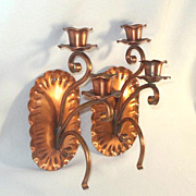 Gregorian Copper Double Wall Candle Sconces