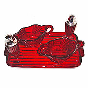 New Martinsville Ruby Queen Anne Crystal Eagle 5 Piece Table Service Set