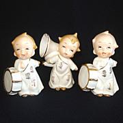 Set 3 Ceramic Musical Cherub Angel Figurines 1950s Japan