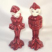 Gilner Pixies Maroon Pottery Salt Pepper Shakers