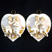Pair Porcelain Bisque Cherub Couple on Heart Wall Hangings Plaques