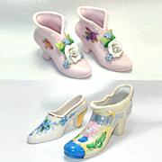 4 Decorative Flowered Porcelain Shoe Slipper Figurines