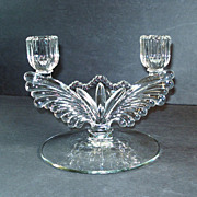 New Martinsville Queen Ann Crystal Double Candle Holder Candelabra