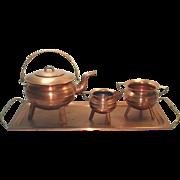 Copper Tea Set With Tray, Tripod Leg Ringed Form
