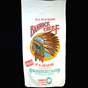 Bannock Chief Pocatello Flour Sack, Great Indian Head Graphics