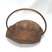 Poinsettia Embossed Solid Copper Basket Tray