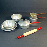 Childs Red Handled Toy Pots and Pans With Toy Rolling Pin